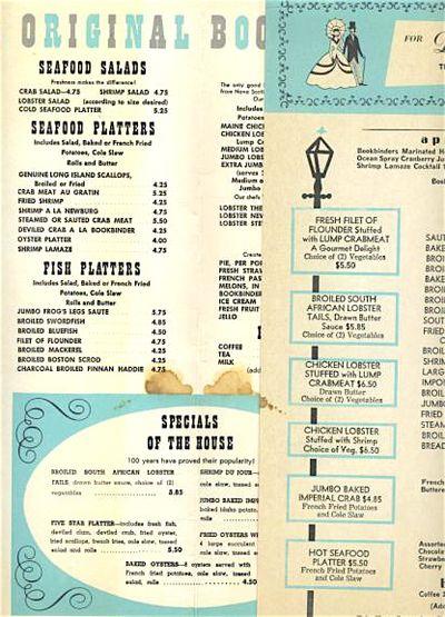 Bookbinders menu