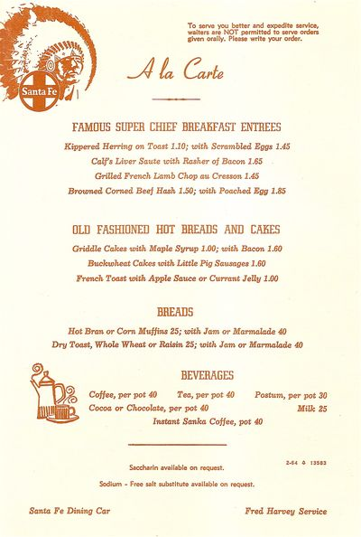 The santa fe dining car the greasy spoon food culture for Table 52 brunch menu