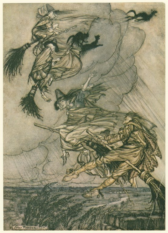 Arthur Rackham Hey! Up the chimney, lass! Hey after you!