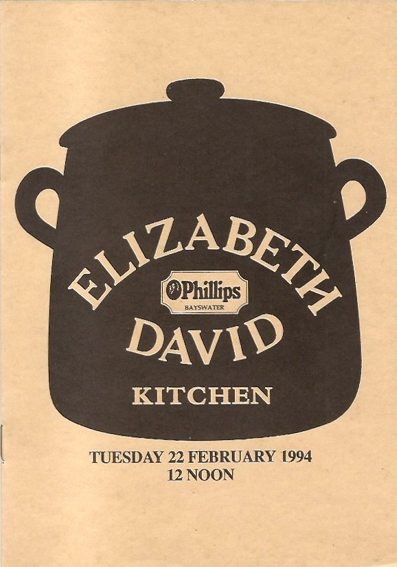 Elizabeth David Auction Catalogue