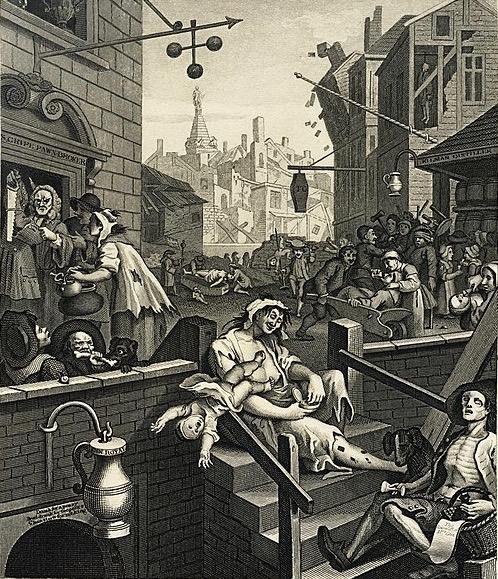 Gin Lane  Hogarth 1751 - 1